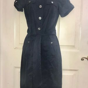 Size 4 Diane von Furstenberg EUC Navy Shirt Dress